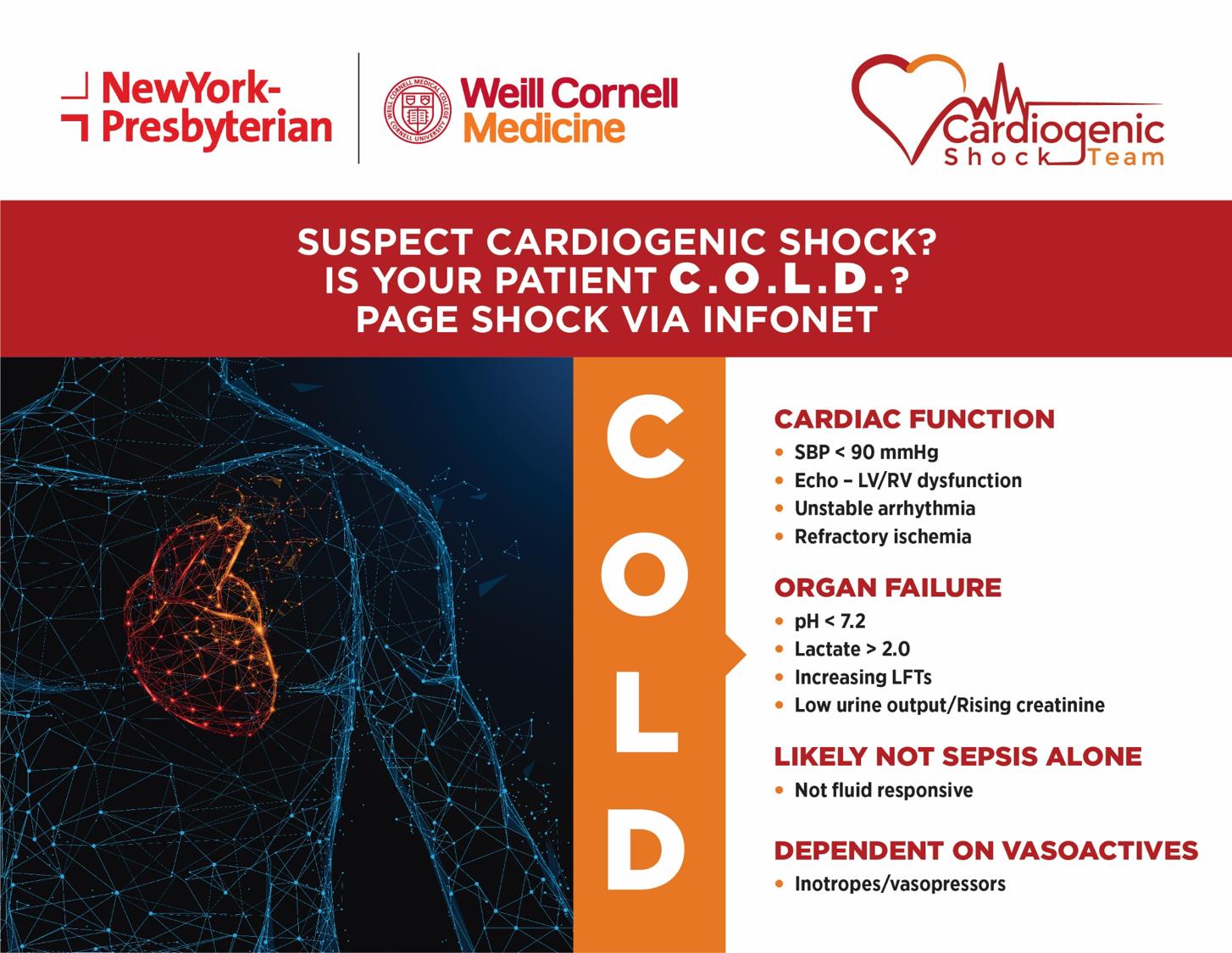 ecmo shock team, cardiothoracic surgery, cold criteria cornell